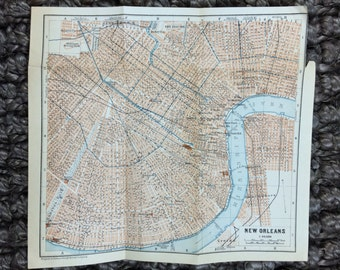 City Map of New Orleans Louisiana 1909 - Bayou, deep south, Mardi Gras, Jazz, Cajun, Mississippi River, French Quarter [8 x 7.2 in.]