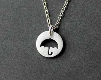 Handmade Sterling Silver umbrella Necklace - Handcrafted Silver Jewelry - Silver Necklace