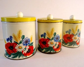 Vintage Mid Century DECOWARE  Floral Canister Set- Aged Patina - Shabby Chic