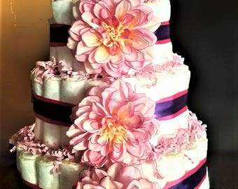 Baby girl flower four tier Pampers diaper cake