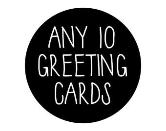 Any 10 Greeting Cards, Bulk Cards, Bulk Discount, Bulk Pack, Card Deal Pack, Buy Any 10 Cards And Save