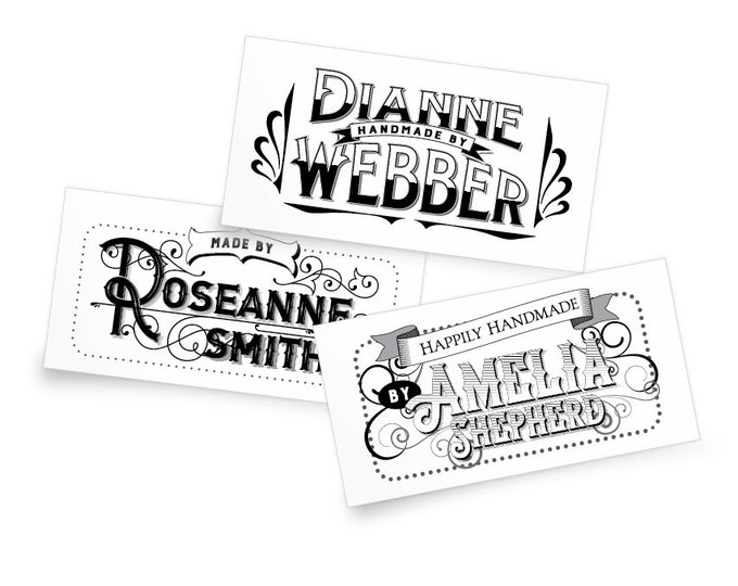 """Custom Fabric Labels, Vintage 1800's, 2.25 x 1.25"""" Uncut, Iron on or Sew On, Colorfast 100% Cotton, 5 Styles and Colors, A Great gift!"""
