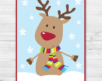INSTANT DOWNLOAD - Pin the Nose on the Reindeer Game