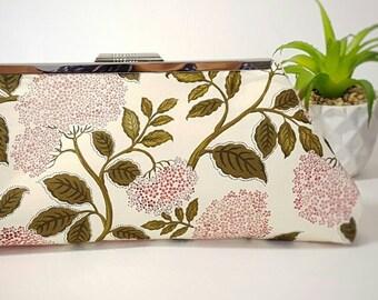 Pink flower clutch bag, clutch bag, flower clutch, cream clutch, wedding bag, wedding clutch, evening bag, pink bag