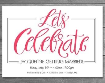 Bridal Shower Invitation, Celebration, Printable Shower Invitation
