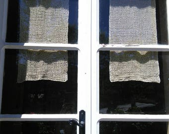 Cotton Crochet Lace Handmade Curtains Pair French Vintage Ecru Filet