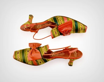 50s Shoes // 1950s Banded Ribbon Heels w/ Leather Bow Detail & Peep Toe // US 9, UK 6.5, EUR 40