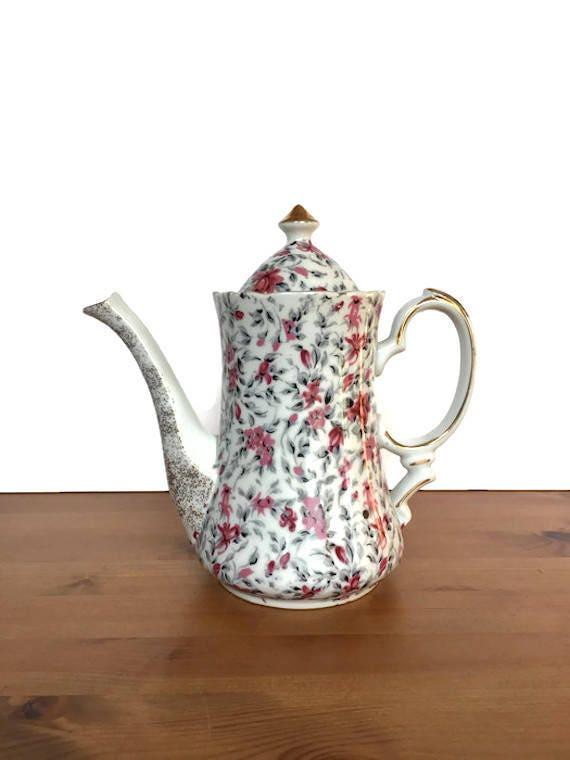 Chintz musical teapot vintage porcelain music box flower design
