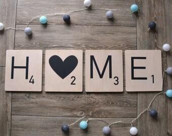 1 Letter Gepersonaliseerde houten Scrabble - 20 x 20cm - alfabet hart ster & cadeau naam