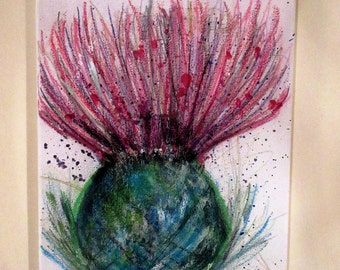 Scottish Thistle.  An original mixed media painting on a stretched canvas by Suzanne Patterson. 16 x 12 inches
