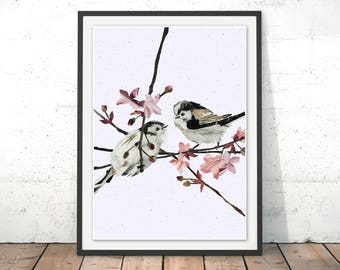 Long-tailed Tits art print, Tits Wall Art, Cherry Blossom Painting, Friendship Print, Friendship Wall Art, Wedding Gift by Laura Clamp