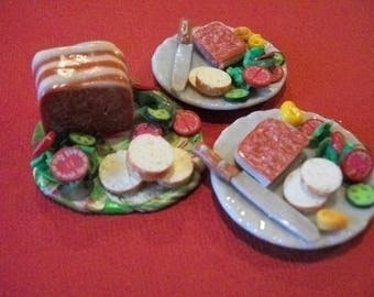 Barbie  doll  food, lunch snack pate and French bread for two