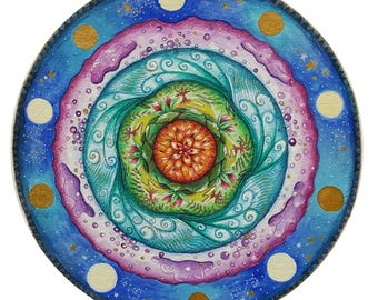 Element mandala, 5 elements painting, professional print of original art, archival quality ink and paper print.