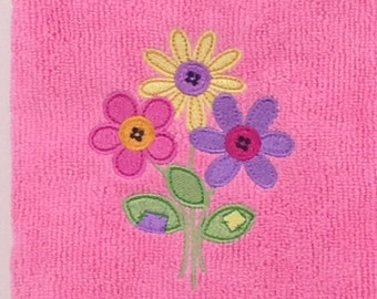 Pink, Yellow and Purple Flowers Microfiber Hand Towel - Pink