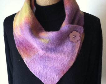 Nuno felted collar, Monet colors, wool felted collar, neck warmer