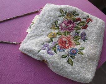 Vintage white beaded floral tapestry purse. 1950s.