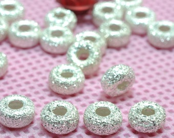 925 Sterling silver spacer wheel wholesale handmade jewelry loose matte beads in 5 mm diameter X 3mm thickness