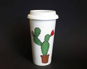 tumbler Cup cactus, coffee mug, porcelain, gift, decoration, mugs, adult, handpainted.