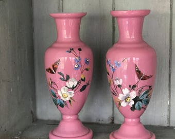 A pair of beautiful hand painted pink Bristol Glass vases