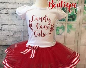 candy cane cutie, candy cane tutu, candy cane shirt, candy cane christmas shirt, candy cane cutie shirt, red and white tutu, christmas tutu