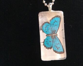 Shimmering Blue Butterfly Pendant