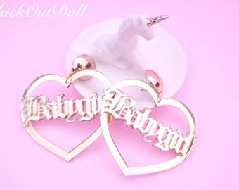 Baby Girl Babe Doll Urban Hip Hop Acrylic Laser Gold Heart Earrings
