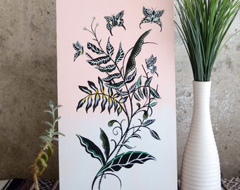 Floral butterfly painting on wood