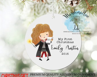 Personalized Christmas Ornament for Girl - My First Christmas Harry Potter Ornament for Kids - Baby 1st Christmas Gift for Girl - Sister