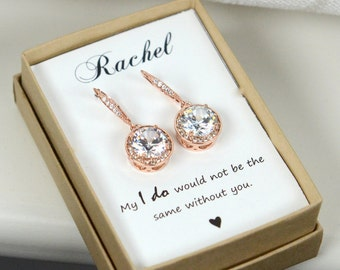 Bridal Jewelry set,Bridesmaid Gift set,Rose gold Bridesmaid Earrings, Crystal Earrings,wedding jewelry,Bridal earrings,Cubic earring