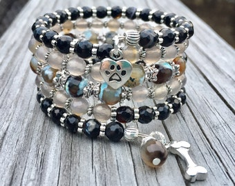 Puppy Love Agate Gemstone Multi Strand Memory Wire Bracelet with Charms
