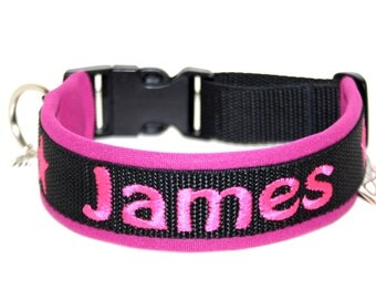 Dogs collar embroidered with the name black pink neoprene dog collar