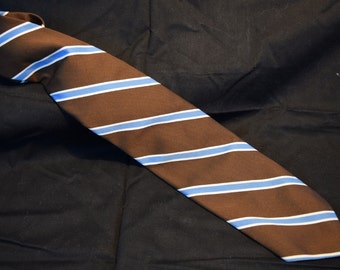 Vintage Marshall Field & Company Chocolate Brown Tie with white and blue stripes