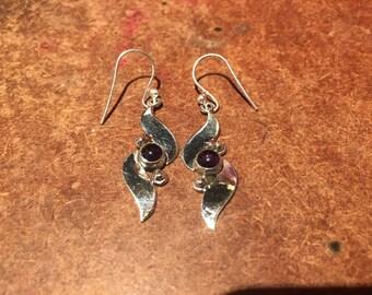 925 Silver Dangle Earrings with Amethyst Crystal