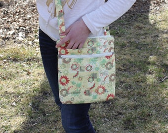 Flower print large crossbody bag, big crossbody purse, messenger bag, crossbody purse, crossbody bag, shoulder bag, large fabric purse