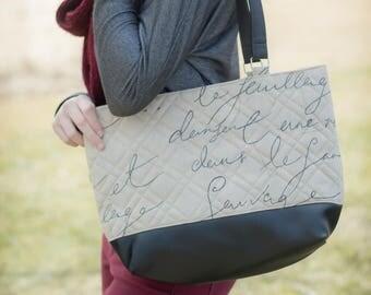 Woman's purse with black French writing, handmade bag, ladies shoulder bag, large purse, designer bag, womens handbag, women shoulder purse