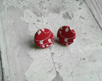 Red earrings, button, sterling silver, fabric, patterned, leaves, stud, vines