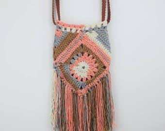 Boho crochet bag, pink women's handbag, festival bag, granny square purse, festival accessory, hippy bag, summer tote, 1970s style