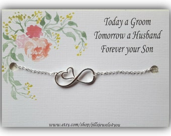 Mother of the Groom Gift - Mother in law gift - Son to Mother Wedding Jewelry - Mothers Gift - Bridal Party - Thank you Gift Infinity