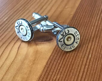 Bullet Cufflinks, 45 Auto Bullet Cuff link, Groomsman Gift, Gifts for Him, Stocking Stuffer, Father of the Bride Gift, Groom Gift