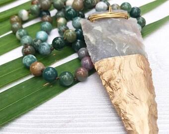 Beaded Arrowhead Necklace, Gold Arrowhead Necklace, Boho Statement Necklace, Lomg Beaded Necklace