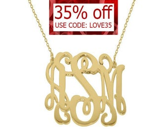 "Monogram necklace - personalize gold monogram necklace 1.25"" gold plated 18k on .925 silver Mothers day gift Bridesmaid necklace"