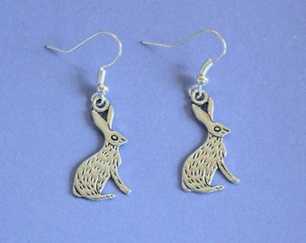 Silver Rabbit Earrings,Dangly Earrings,Dangly Rabbit Earrings,Silver Earrings,Bunny Earrings,Silver Hare Earrings,Rabbit Jewellery,Rabbits
