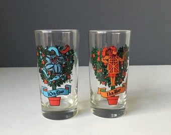 """ON SALE Anchor Hocking Glass Twelve Days of Christmas REPLACEMENT Tumblers, Vintage Holiday Glassware, 5.5"""" Height, Sold Individually"""