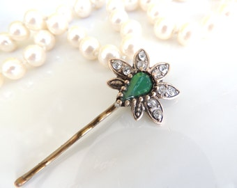 Small Vintage Antique Hair pin, Bridal Hairpin, Royal, Bronze Hair Clip, Hair pin, Amazing Vintage Style Pin with Green Stone, Bobby Pins