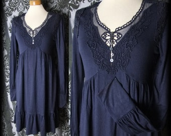 Gothic Navy Lace Detailed NIGHTFALL Buttoned Tea Dress 8 10 Victorian Romantic