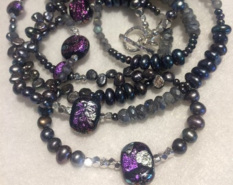 Paula Radke Dichroic Purple Silver Black Beads Freshwater Keshi Baroque Pearls Mystic Labradorite Sterling Silver Asymmetric Long Necklace