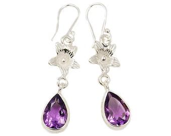 Purple Blossom Amethyst Earrings & .925 Sterling Silver Dangle Earrings AF365 The Silver Plaza
