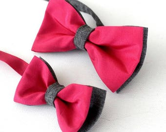 Bow-tie,  children bow tie,baby bow, father-son set,pink-gray
