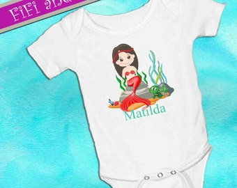 Personalized Mermaid Coral and Green Turtle, White onsie , Snap bottom all in one bodysuit, tropical, summer, beach