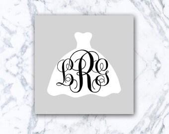 Monogram Wedding Dress Decal | Wedding Decal, Bride, Bridesmaids, Drink Drank Drunk, Monogram, Monogram Decal
